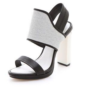 BCBG JOVIAN high heel black and white sandal